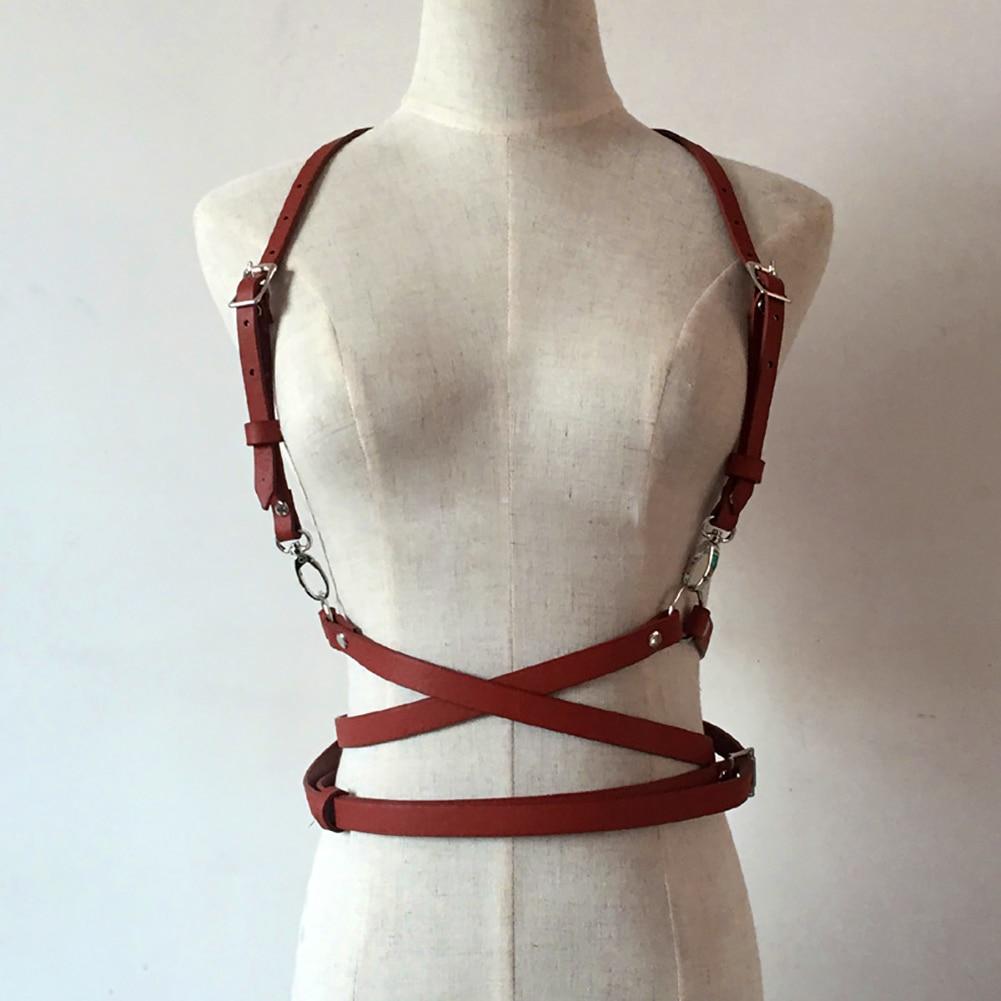 Punk Harajuku O-Ring Garters Faux Leather Body Bondage Cage Sculpting Harness Waist Belt Straps Suspenders Belt