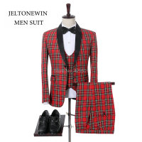 2018 New Fashion Brand Red Plaid Wedding Groom Men Suit Slim Fit 3 Pieces Wedding Party Best Man Suit Tuxedos
