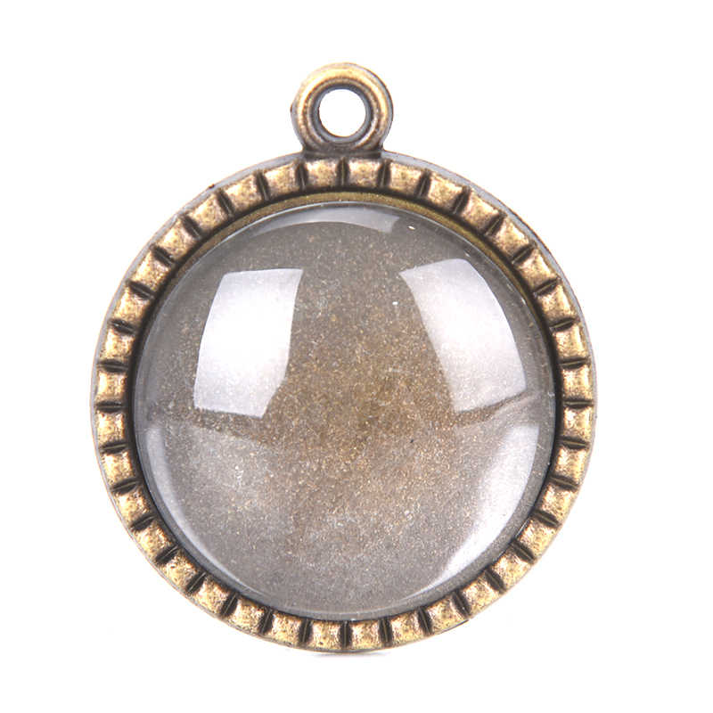 Antique Bronze นกฮูกจี้ Cabochon ฐาน Bezel ถาดพอดีพอดี 25 มม.แก้ว Cabochons DIY สร้อยคอ