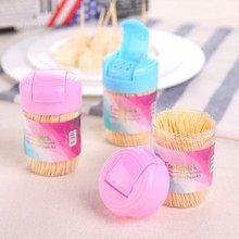 Natural portable bottled canned bamboo toothpick box with toothpicks 5*8cm free shipping