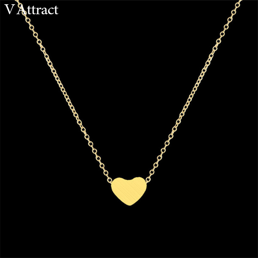 Dainty tiny heart shaped necklaces pendants stainless for Stainless steel jewelry necklace