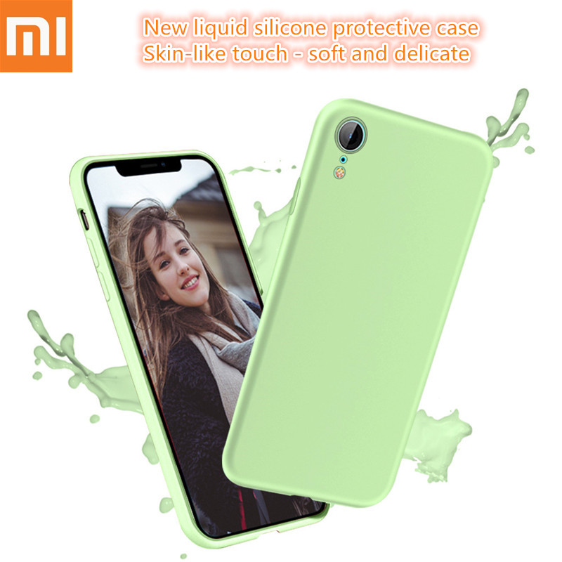 Original Liquid Silicone Case For Xiaomi Mi A2 8 lite SE 6X 6 Max 3 Mix 2 2s Redmi 6A Note 5 6 7 Pro Soft TPU Candy Phone Cover.