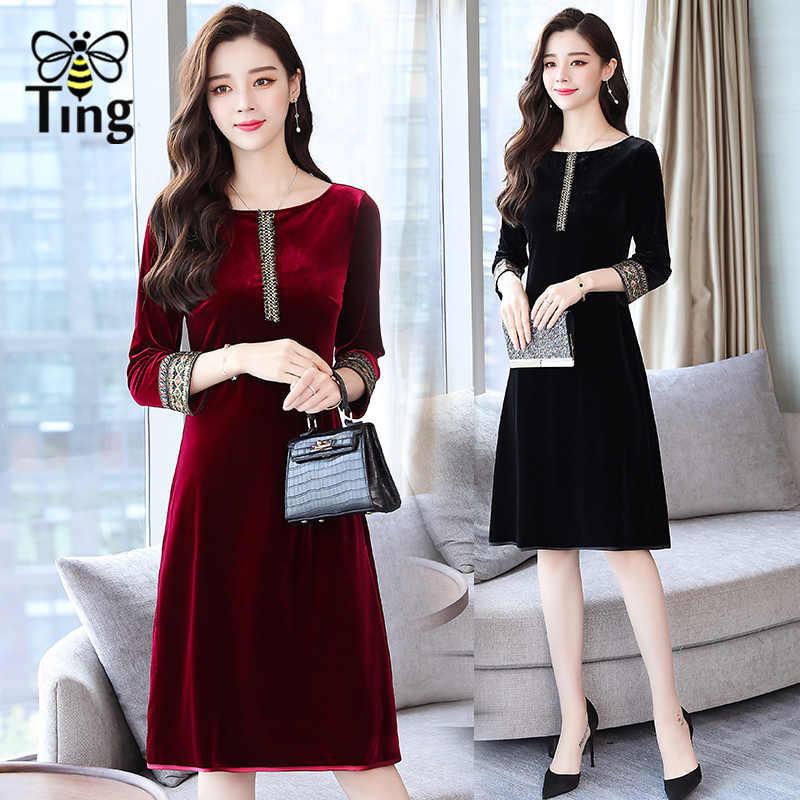 Tingfly New Arrivals Beading Velvet Dress Women Elegant Autumn Half Sleeve  Embroidery Party Dresses Casual Velvet 52ac0ff7cdd5