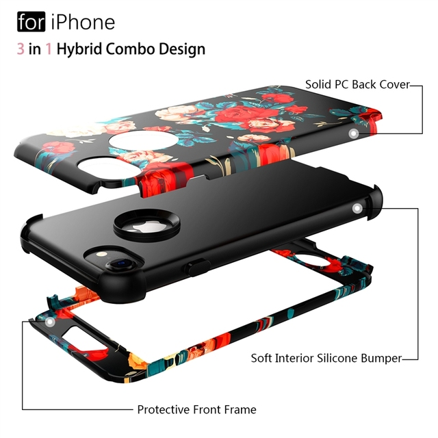 Luxury 3 in 1 Case For iPhone X Xs max XR 7 8 6 6s Plus 5 5s Se Hard Cover PC Silicone Bumper Shockproof Unicorn Flowers Case