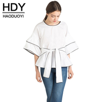 HDY Haoduoyi 2016 Summer New Woman Blouse Crew Neck Half Sleeve White Street Style Fashion Casual