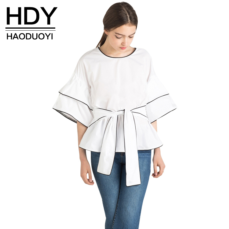 NEW FASHIONS  HDY Haoduoyi 2017 Summer New Women Blouse Crew Neck Half Sleeve White Shirt female blouse shirt Casual Blusas
