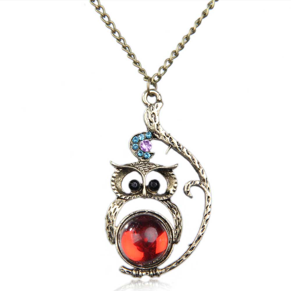 2017 New Hot Fashion Vintage Jewelery Rhinestone Studded Owl Pattern Long Penda