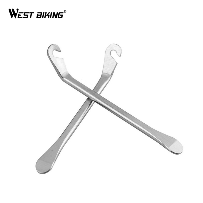 WEST BIKING Tire Iron Silver Cycling Bicycle Tire Tyre Lever Bike Levers Repair Opener Breaker Tool Crow Bar Tyre Spoon 51mm dc 12v water oil diesel fuel transfer pump submersible pump scar camping fishing submersible switch stainless steel