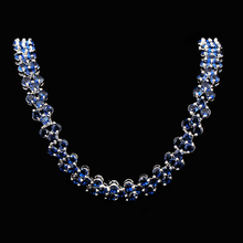 2015 Estilo Romano de Oro Blanco de 10KT Joyería de Moda Collar de Piedra Azul Mujeres Wedding Engagement Maxi Collares NL0041