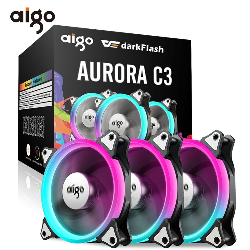 Aigo C5 PC Case Fan RGB 120mm Cooling Fan Adjustable Cooling Fan for Computer Mute Computer Cooler Fan Controller Ventilador PC gdstime 10 pcs dc 12v 14025 pc case cooling fan 140mm x 25mm 14cm 2 wire 2pin connector computer 140x140x25mm