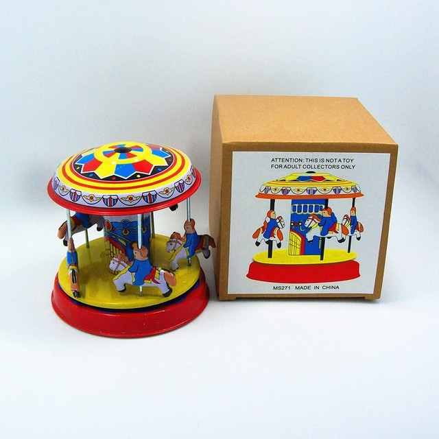 [Funny] Classic collection Retro Clockwork Wind up Metal Tin Gear High-wheel Carousel toy Mechanical toys kids baby gift