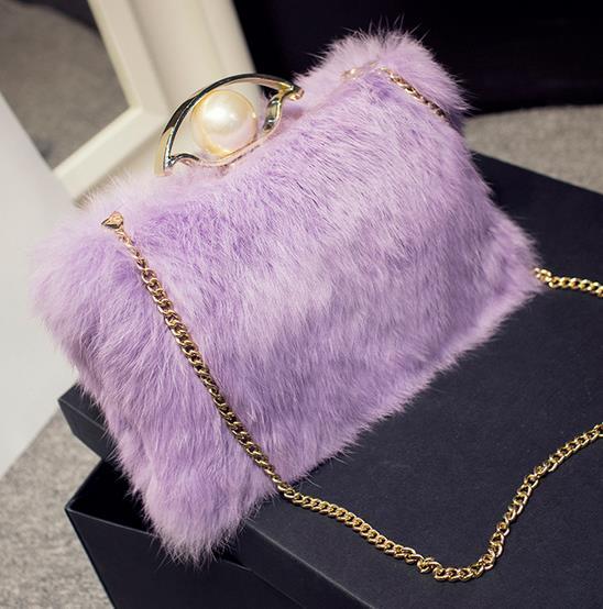 Alta calidad real fur rabbit hair lady cenas embrague noche bolsa de la cadena d