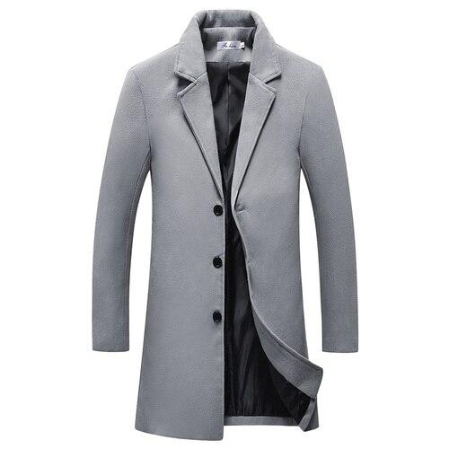 Men's Long Wool Blends Coat...
