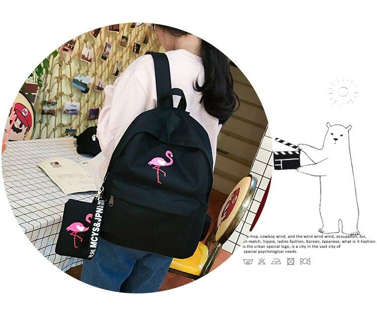 HTB1JIUDwSMmBKNjSZTEq6ysKpXad Backpacks Brand Women Simple Flamingo Printing Backpack For Teenage Girls Laptop School Bags Mochila 2019