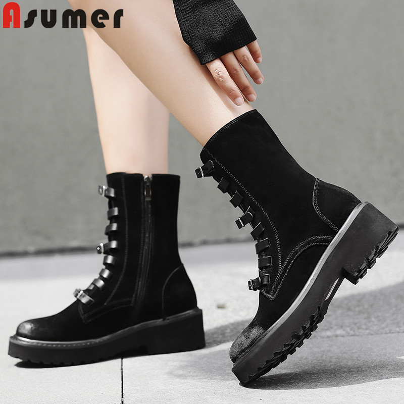 ASUMER 2018 hot sale new ankle boots round toe zip lace up ladies autumn winter boots square heel suede leather boots women купить в Москве 2019