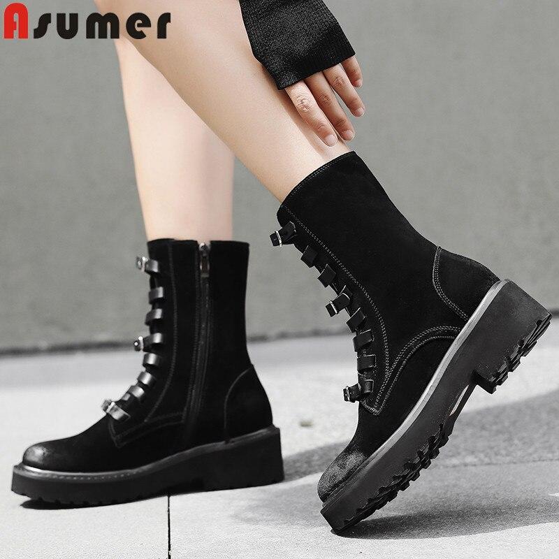 купить ASUMER 2018 hot sale new ankle boots round toe zip lace up ladies autumn winter boots square heel suede leather boots women по цене 3889.46 рублей
