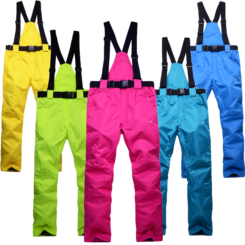 New Winter Thick Warm Skiing Pants Men Women Lovers Windproof Waterproof Suspender Pants Snow Snowboard Trousers Plus Size