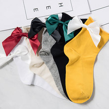Hot Lovely Candy Color Bow Socks Casual Female Color Short Socks New Cute Ladies Bow knot Sox Big Bow Pile Of Female kawaii Sock