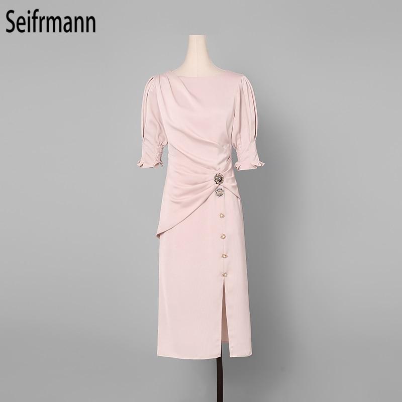 Seifrmann 2019 Women Summer Dress Runway Fashion Designer Lantern Sleeve Draped Button Elegant Slim Ladies Office Dresses in Dresses from Women 39 s Clothing