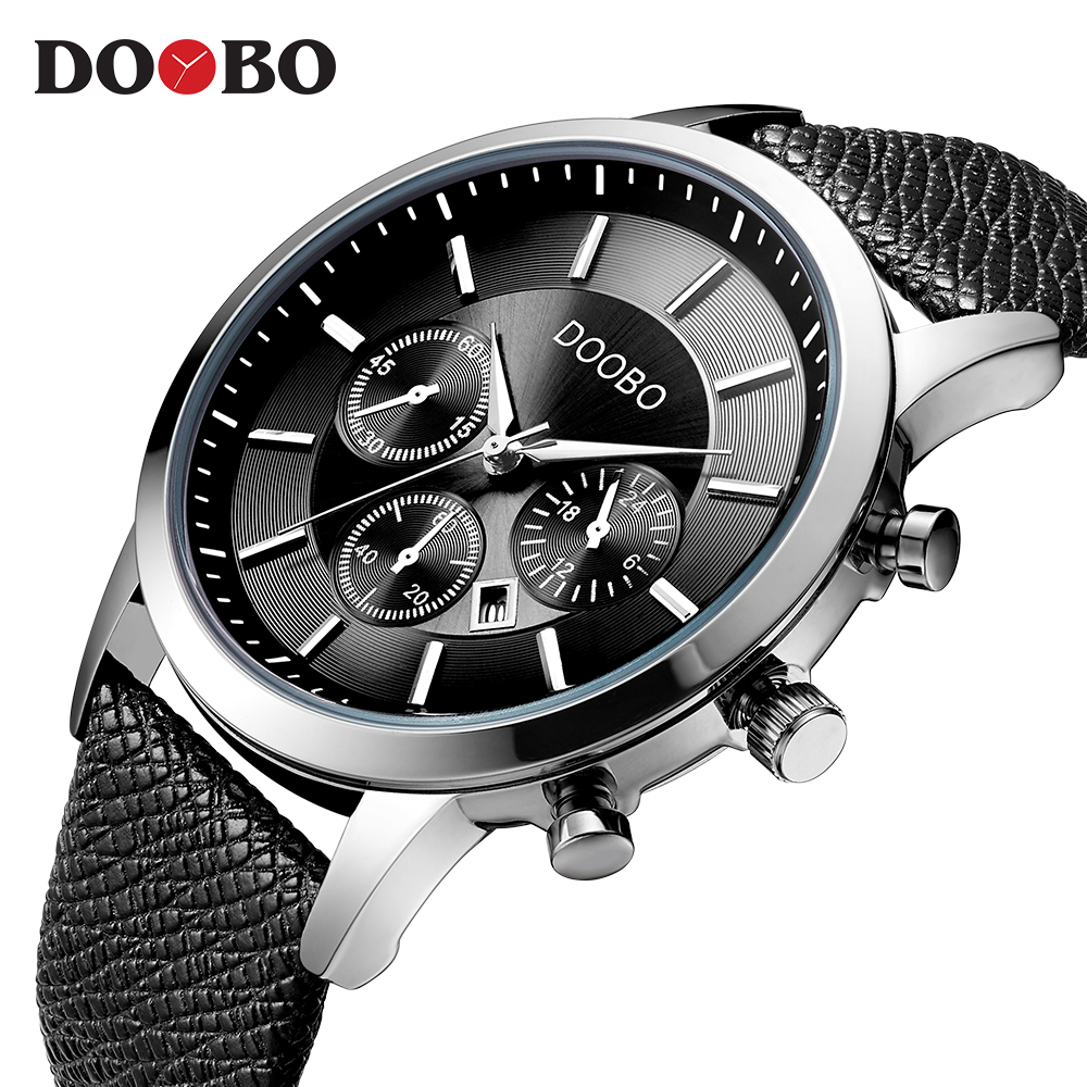 DOOBO Top Brand Luxury Men Watches Man Clock Male Retro Leather Army Military Sport Quartz-Watch Men Hodinky Relojes Hombre D034 chenxi relojes hombre 2017 clock man waterproof quartz movement casual watch men stainless steel watchband watches hodinky 4751