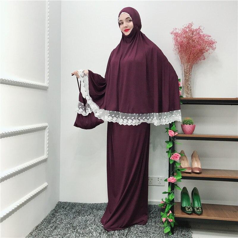 Musulman noir visage couverture Ramadan militaire Bonnet islamique Khimar longue boucle écharpe Jilbab prière vêtements foulard Abaya Ramadan