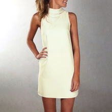 2019 new high collar sleeveless slim dress fashion casual solid color mini womens clothing