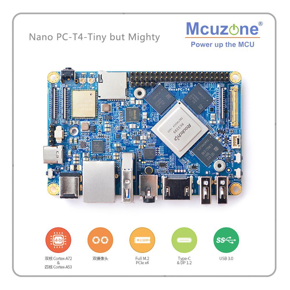 FriendlyARM NanoPC T4 Rockchip RK3399 Cortex A72 Cortex A53 VR AI OpenCV TensorFlow MIPI Dual band