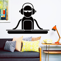 Art Design décoration vinyle bande dessinée DJ ponts Wall Sticker amovible maison decor pop musique casque belle stickers en bar