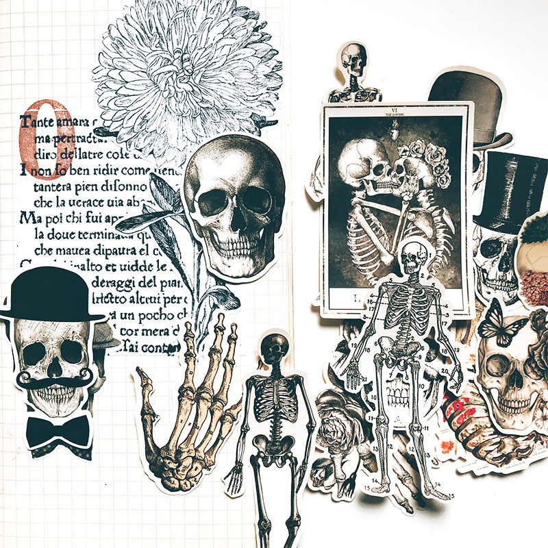 14pcs Retro Skull Sexy Bones Elegant Slut Decoration Stationery Sticker Diy Ablum Diary Scrapbooking Label Sticker Stationery