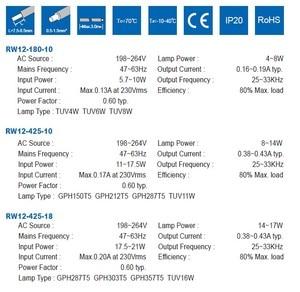 Image 4 - 40個RW12 180 10殺菌ランプ電子バラスト230v 120v 4ワット6ワット8ワットランプTUV6W TUV4W TUV8W ce証明書
