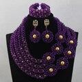 Модные Африканские Украшения Установить Фиолетовый Ручной Работы Из Бисера Кристалл Партия Колье для Невесты Бесплатная Доставка WD563