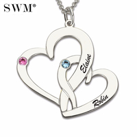 Women Silver 925 Necklaces Custom Two Names Birth Stone Necklace Intertwined Double Hearts Chain Couple Pendant for Mom Daughter