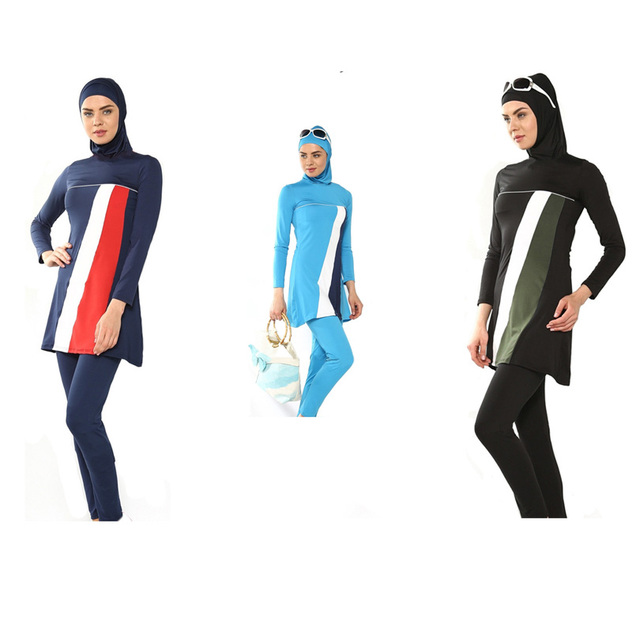 7d6a78c4db960 Top Quality muslim swimwear islamic swimsuit for women hijab modest long  dress full cover plus size swimwear
