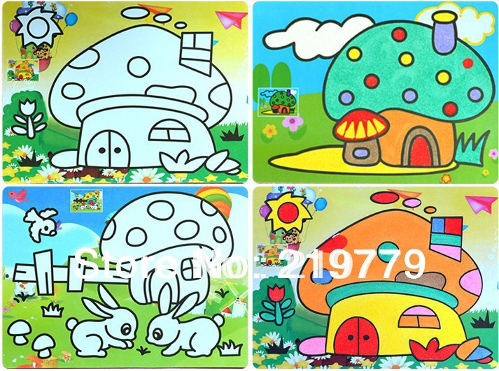 20pcslot 15205cm diy kids color sand art painting kits card drawing - Color Drawing For Kids