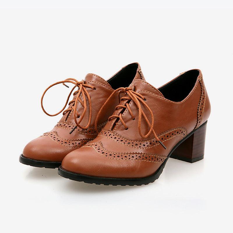 Mens Oxford Dress formal Leather Brogue Lace-up Chunky heels Retro Ankle Boots