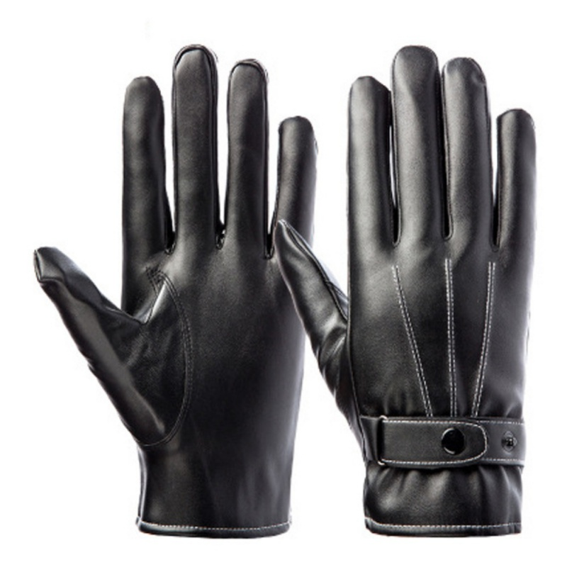 PU Leather Touch All Smart Phones Screen Mens Warm Gloves With Belt Windproof Cycling Full-fingered Gloves