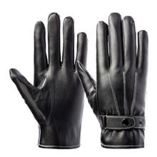 PU Leather Touch All Smart Phones Screen Mens Warm Gloves with Belt Windproof Cycling Full-fingered