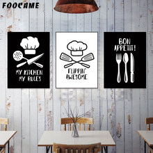 FOOCAME Tableware Chef Hat Knife Nordic Kitchen Posters and Prints Wall Art Canvas Painting Pictures Modern Home Decoration(China)