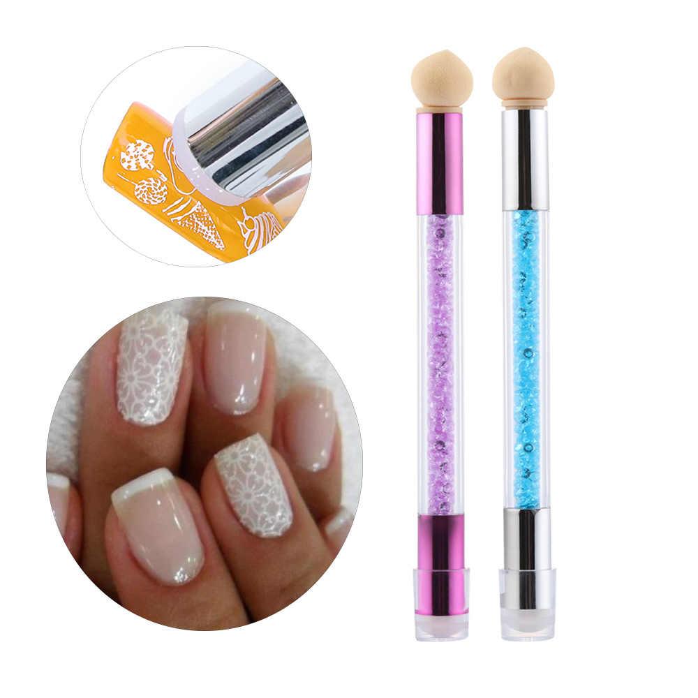 Neue 1PC Nail art Pinsel Schwamm Silikon Doppel-headed Gradienten Pinsel Stift Strass Griff Blühende UV Gel Nägel maniküre Werkzeuge
