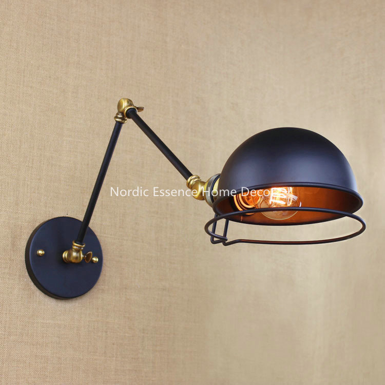 eu french designer models retro creative loft balcony continental american industrial robot double long arm wall cheap wall sconce lighting