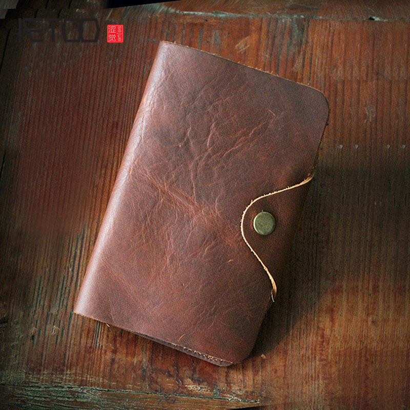 AETOO Retro handmade leather wallet men 's vertical section of handmade mad horse skin in the long section Vintage wallet crazy horse skin retro vertical section square short paragraph men wallet leather men wallet multi card wallet