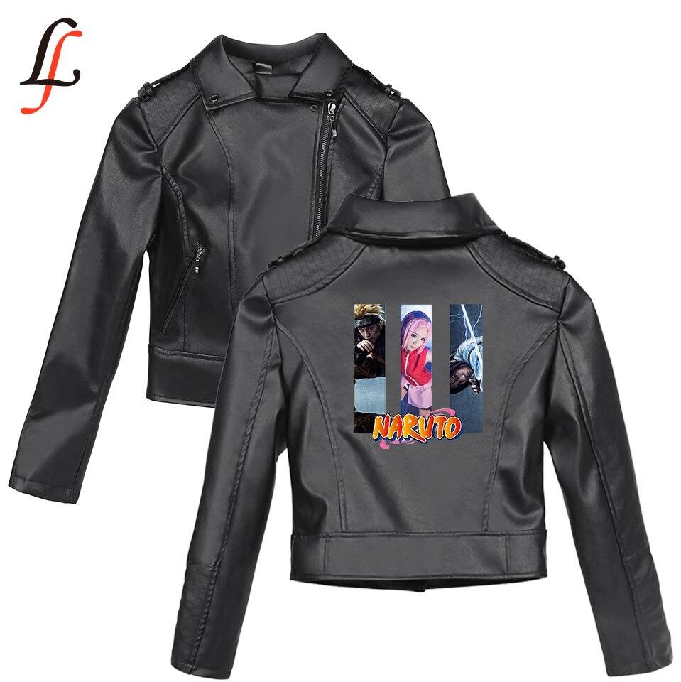 Naruto New K pop Harajuku Autumn Winter Faux   Leather   Style Solid Print Jackets Basic Women Slim Zipper   Leather   Clothing Jackets