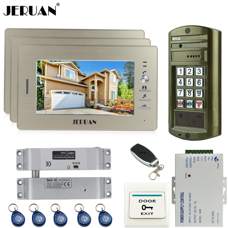 JERUAN Home 7 Inch Color Video Door Phone Intercom system kit + NEW Metal waterproof Access password keypad HD Mini Camera 1V3 7 inch password id card video door phone home access control system wired video intercome door bell