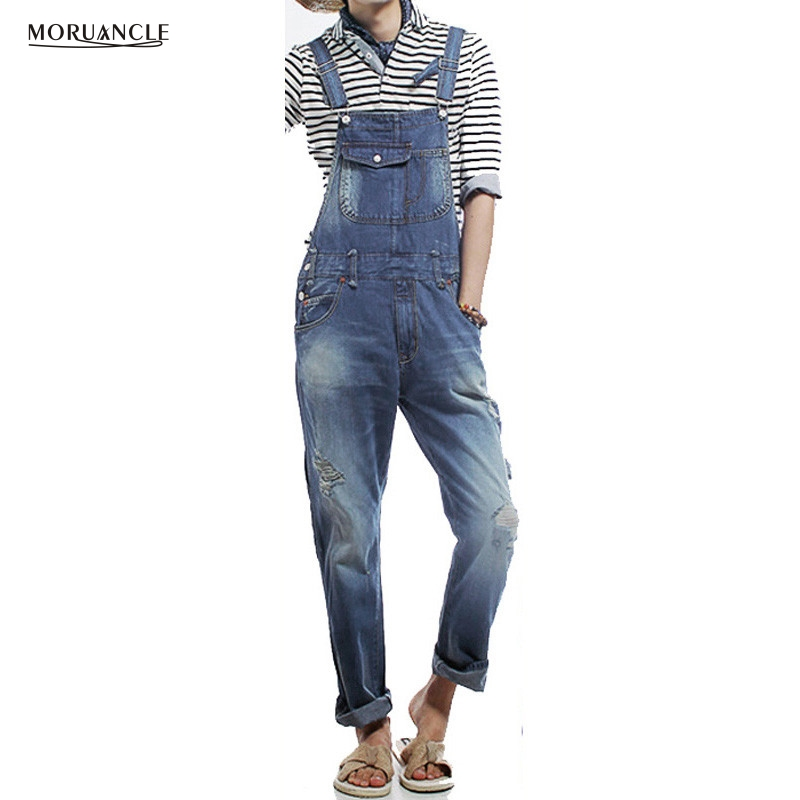 MORUANCLE New Fashion Mens Ripped Denim Bib Overalls Jeans Cargo Distrressed Jumpsuit Jeans Pants For Man Plus Size S-5XL mens distressed jeans ripped jumpsuit denim overalls men baggy cargo pants with suspenders denim bib overalls for men 260