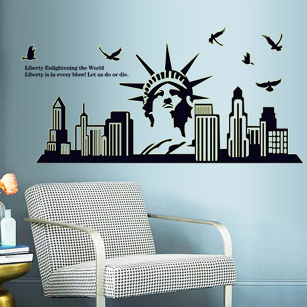 Home Decor DIY The New York City Silhouette Statue Of Liberty Background  Fluorescent Luminous Room Wall