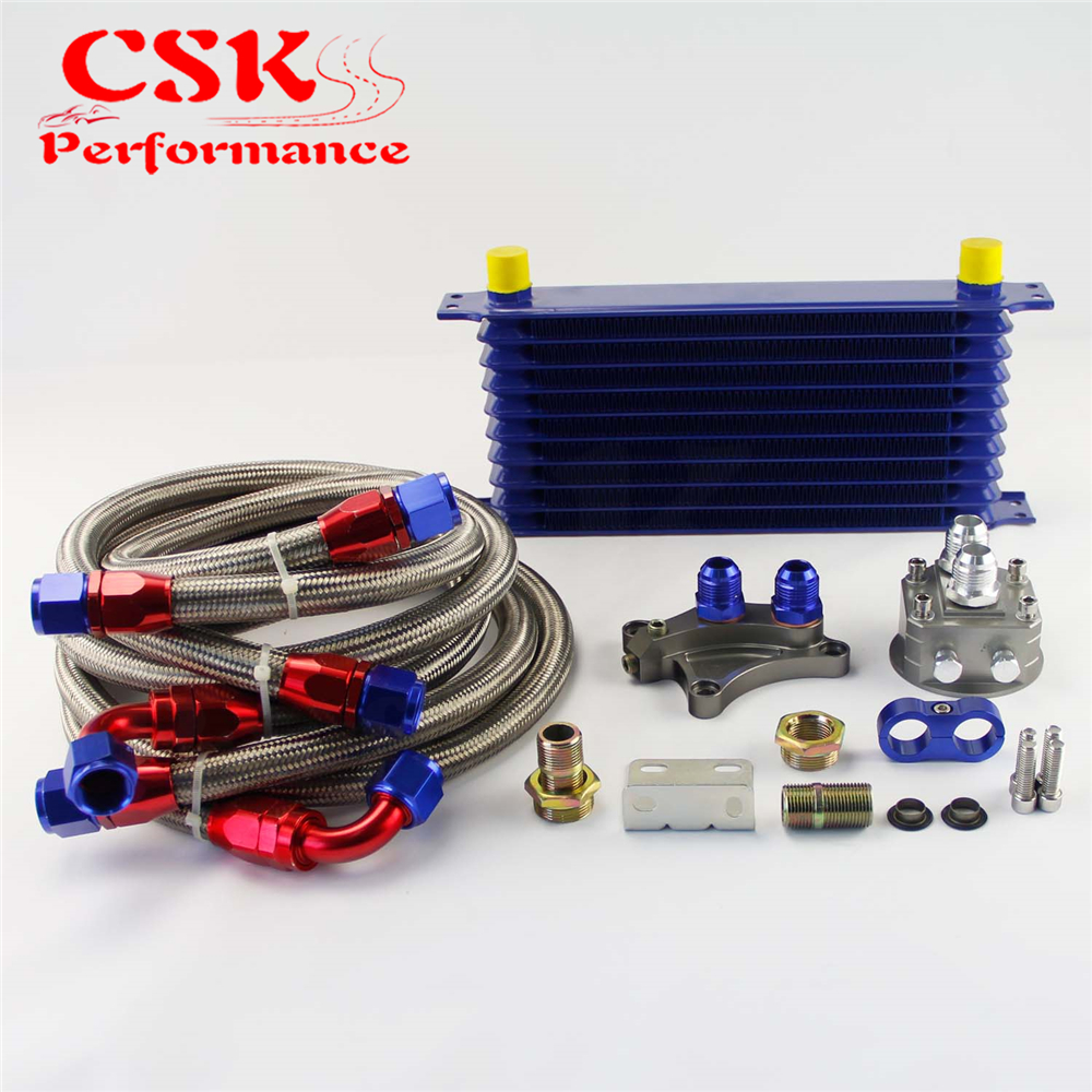 10 Row Oil Cooler Kit Fits For Nissan Silvia S13 S14 S15 180SX 200SX 240SX SR20DET Blue for nissan silvia s14 s15 sr20det 240sx 200sx aluminum race radiator 2 row mt manual 50mm tk r111rad