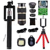 Fish Eye Wide Angle Macro Fisheye Lenses 8X Telephoto Lentes Selfie Lamp Tripod Phone 15in1 Lens