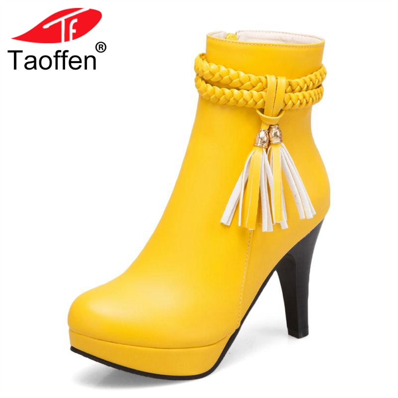 TAOFFEN Size 34-43 High Heel Woman Boots Zip Thick Fur Fringes Ankle Boots Woman Shoes Elegant Short Boots Woman FootwearTAOFFEN Size 34-43 High Heel Woman Boots Zip Thick Fur Fringes Ankle Boots Woman Shoes Elegant Short Boots Woman Footwear