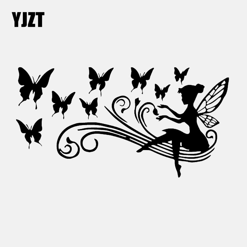YJZT 17.1CM*8.9CM Fairy Butterfly Vinyl Decal Personalized Car Sticker Black/Silver C24-0383
