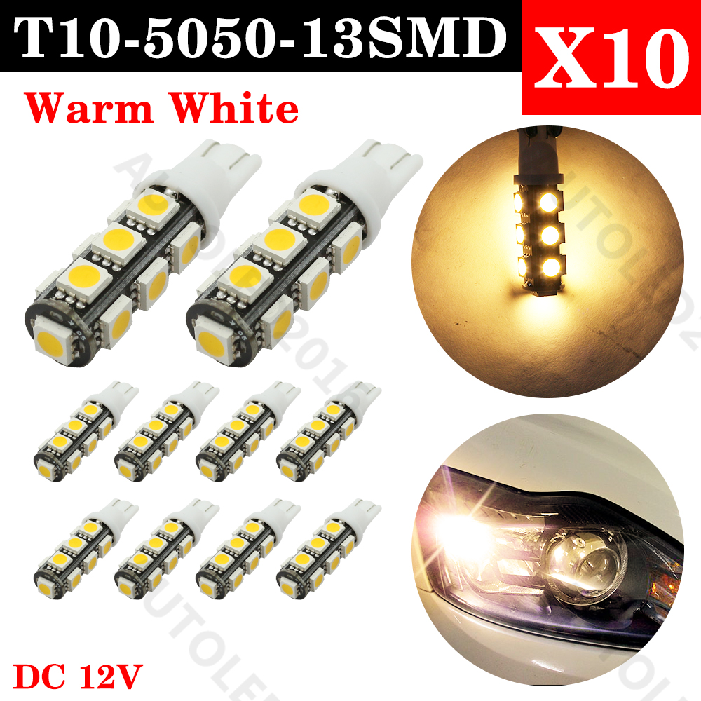 10PCS Warm White T10 led bulb 13 SMD 5050 LED T10 W5W 194 168 Car Light Source lamp dash indicator signal side wedge tail light 4x canbus error free t10 194 168 w5w 5050 led 6 smd white side wedge light bulb